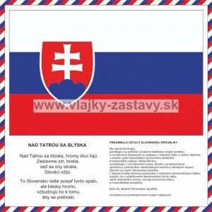 Preambula Ústavy SR s trikolórou po obvode, SR vlajka s textom hymny